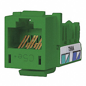 Modular Jack, Green, Plastic, Series: Standard, Cable Type: Category 5e