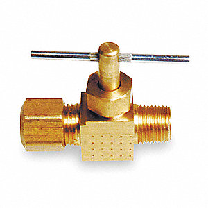 Needle Valve,Straight,Brass,1/4 In.
