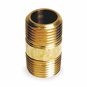 "1/8"" x 1-1/2"" Brass Pipe Nipple, Pipe, Fitting, Nipple, Threaded Both Ends"