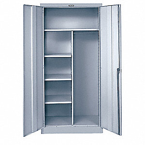 "Commercial Storage Cabinet, Light Gray, 78"" H X 36"" W X 24"" D, Assembled"