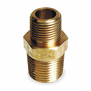 "Brass Reducing Nipple, MNPT, 3/4"" x 1/2"" Pipe Size"