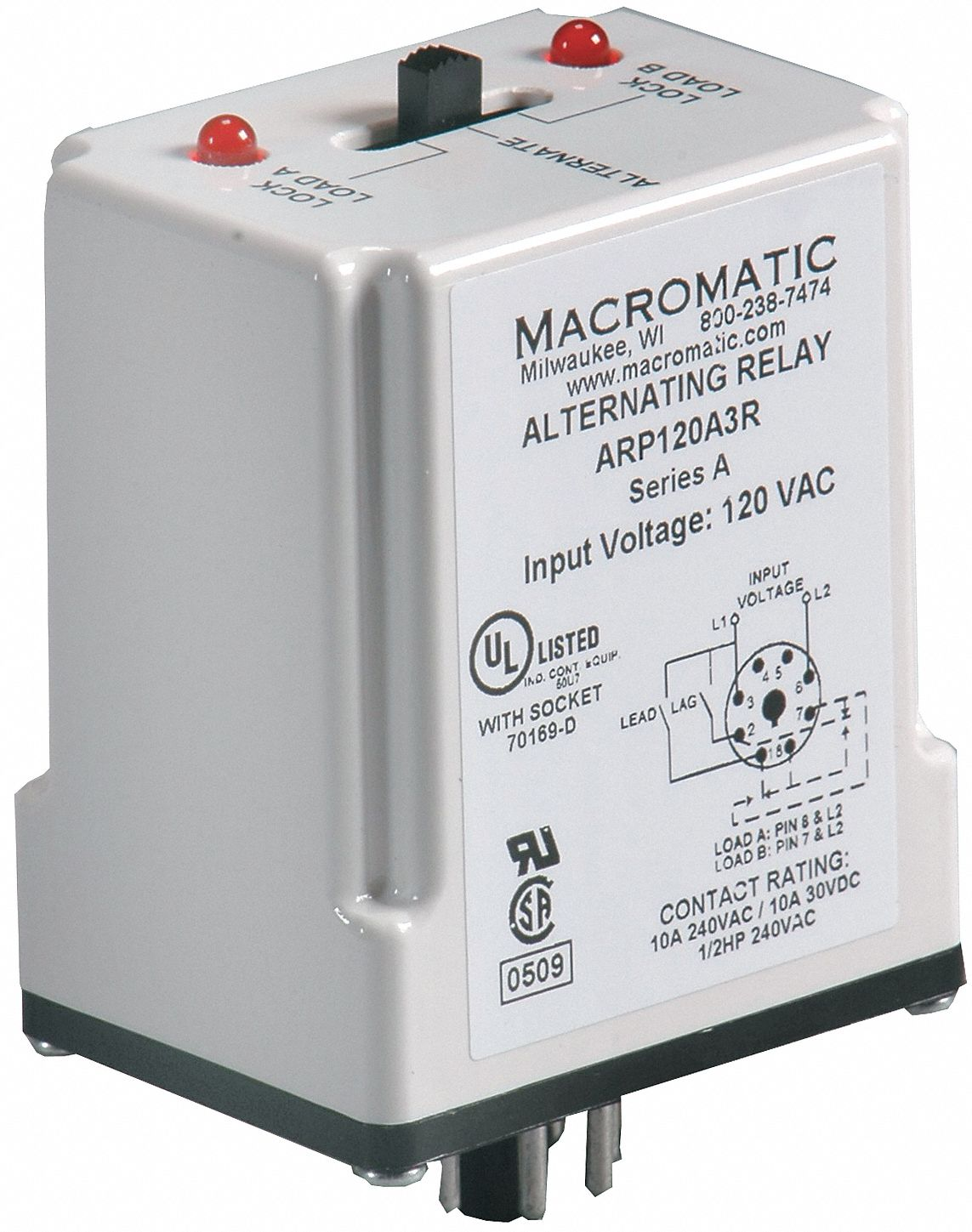 MACROMATIC Alternating Relay, 120VAC, 10A @ 240V, 10A @ 28V, Octal Base  Type, 8 Pins, 3.0VA, DPDT Cross-Wired - 6MPN9|ARP120A3R - Grainger