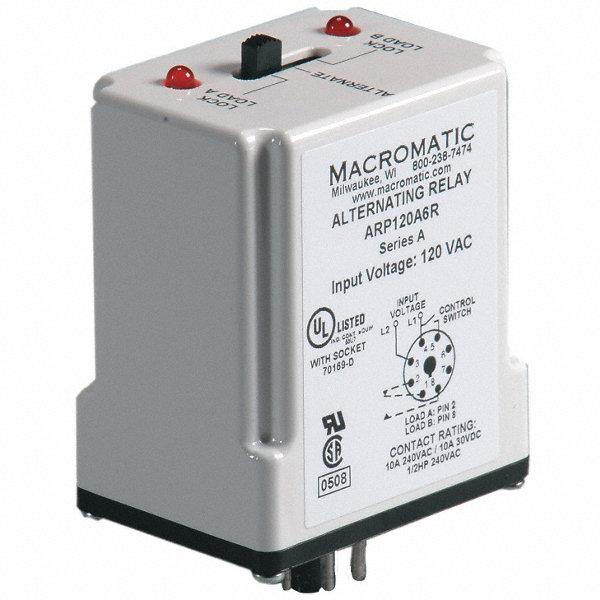 macromatic alternating relay 10 amps 120vac 8 pins spdt macromatic alternating relay 10 amps 120vac 8 pins spdt 6mpp1 arp120a6r grainger