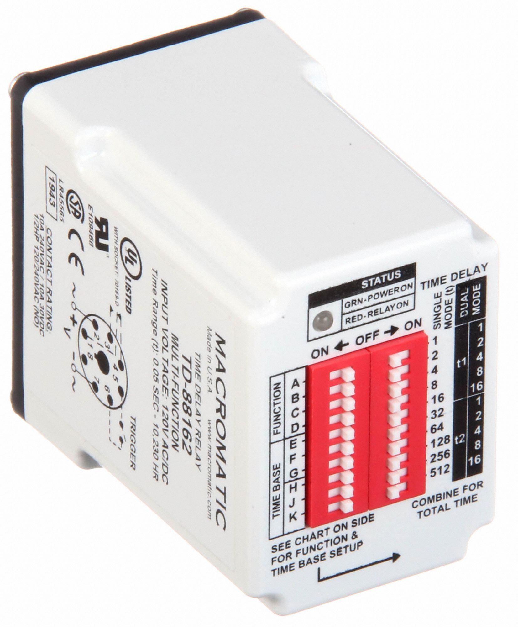 Time Delay Relay,120VAC/DC,10A,SPDT
