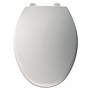 "Hospitality Heavy Duty Just Lift® Plastic Toilet Seat, Elongated, With Cover, 18-3/4"" Bolt to Seat F"
