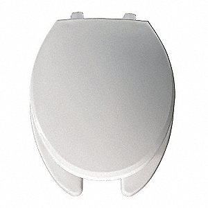 "Hospitality Heavy Duty Just Lift® Plastic Toilet Seat, Elongated, With Cover, 18-1/8"" Bolt to Seat F"