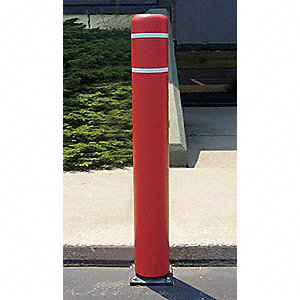"52"" Spring Mount Galvanized Steel Flexible Bollard with 7-11/32"" Outside Dia., Silver"