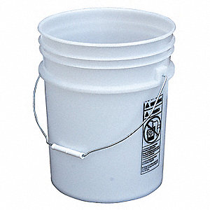 Plastic Pail,5.4 gallon,Steel Handle