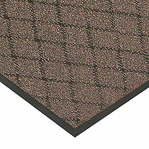 "Indoor Entrance Mat, 6 ft. L, 4 ft. W, 3/8"" Thick, Rectangle, Brown"