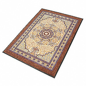 "Indoor Entrance Mat, 8 ft. L, 5 ft. W, 3/8"" Thick, Rectangle, Mocha"