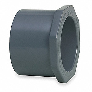 "PVC Reducing Bushing, Spigot x Socket, 3/4"" x 1/2"" Pipe Size - Pipe Fitting"