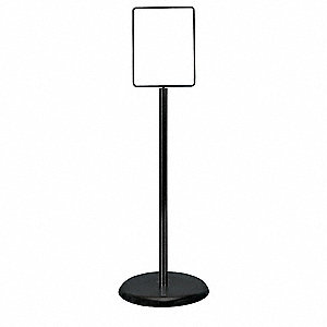 Sign Holder,Pedestal,7x11,Metal,Black