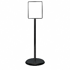 Sign Holder,Pedestal,8-1/2x11,Metal,Blk