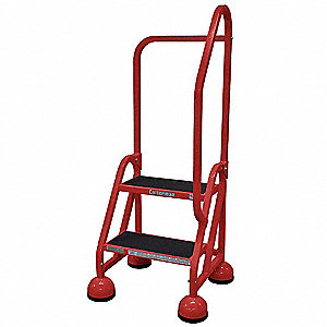 "2-Step Rolling Ladder, Antislip Vinyl Step Tread, 48"" Overall Height, 450 lb. Load Capacity"