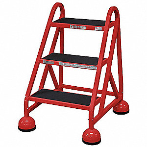 "Steel Rolling Step, 31"" Overall Height, 450 lb. Load Capacity, Number of Steps: 3"