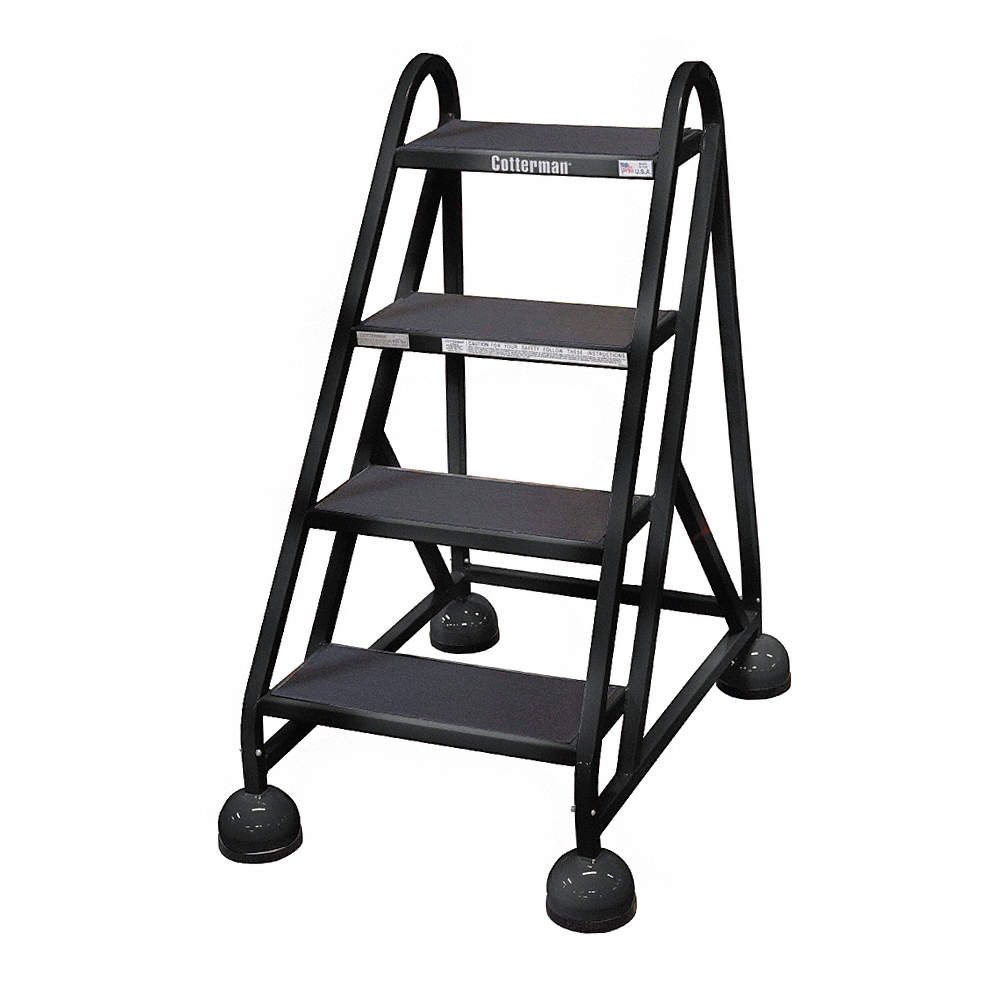Miraculous 4 Step Rolling Ladder Antislip Vinyl Step Tread 40 Overall Height 450 Lb Load Capacity Spiritservingveterans Wood Chair Design Ideas Spiritservingveteransorg