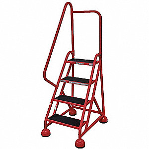 "4-Step Rolling Ladder, Antislip Vinyl Step Tread, 66"" Overall Height, 450 lb. Load Capacity"