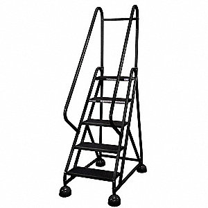 "5-Step Rolling Ladder, Antislip Vinyl Step Tread, 75"" Overall Height, 450 lb. Load Capacity"