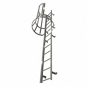 "Fixed Ladder with Safety Cage, Steel, 17 ft. 3"" Overall Height, 26"" Overall Width"