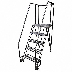"5-Step Tilt and Roll Ladder, Expanded Metal Step Tread, 80"" Overall Height, 350 lb. Load Capacity"