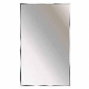 "Theftproof, Channel Framed 30""H x 18""W Washroom Mirror"