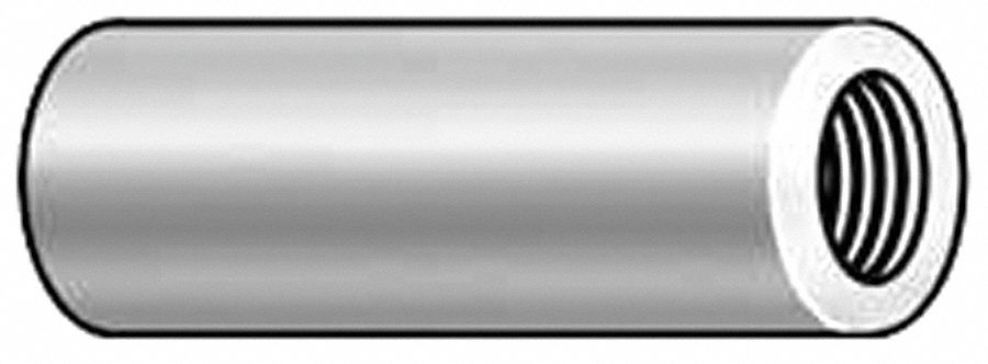 Round,  Standoff,  Aluminum,  Female - Female,  2 in Overall Length,  PK 10