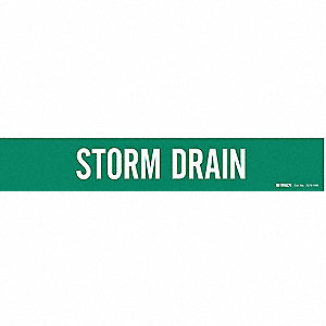 Pipe Marker, Storm Drain, Gn, 8 In or Lrger