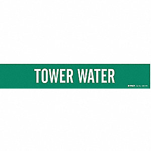 Pipe Marker,Tower Water,Gn,8 In or Lrger