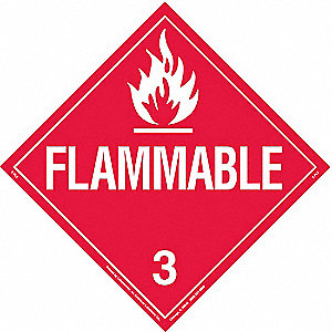 "10-3/4"" x 10-3/4"" Class 3 Self-Adhesive Vinyl Vehicle Placard, White/Red"