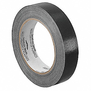 "Utility Slick-Surface Tape, 2"" X 36 yd., 7.00 mil Thick, Black Coated Cloth, 1 EA"