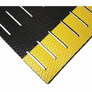 Drainage Mat, Black with Yellow Border, 30 ft. x 3 ft., PVC, 1 EA