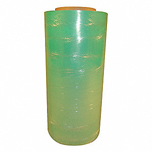 "Stretch Wrap, Hand Dispensed, 1-Side Cling, Standard, 12"" x 1500 ft., Gauge: 80, Green"