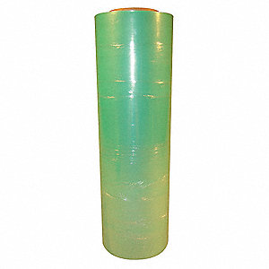 "Stretch Wrap, Hand Dispensed, 1-Side Cling, Standard, 18"" x 1500 ft., Gauge: 80, Green"