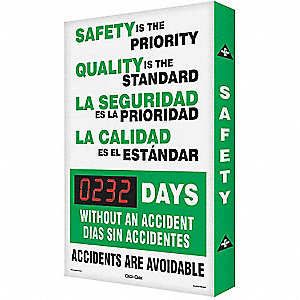 Safety Record Signs,36 x 24In,AL