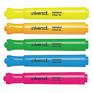 Wide Highlighter Set with Chisel Tip, Fluorescent Blue, Fluorescent Green, Fluorescent Orange, Fluor