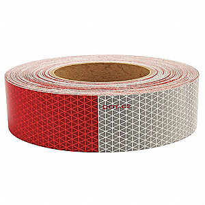 REFLECTIVE TAPE,W 1.75 IN,RED/WHITE