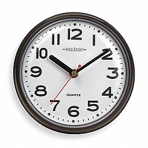 Analog Clock,7 In Dia,Black