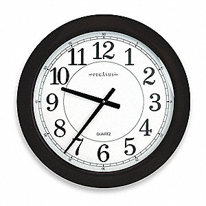 "24"" Wall Mount Round Analog Quartz Clock, Black"