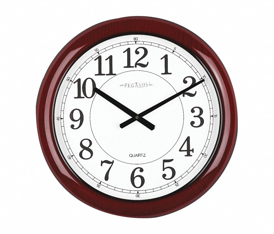 Analog Clock,24 In,Burgundy