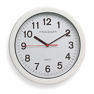 "10-1/4"" Wall Mount Round Analog Quartz Indoor/Outdoor Clock, White"