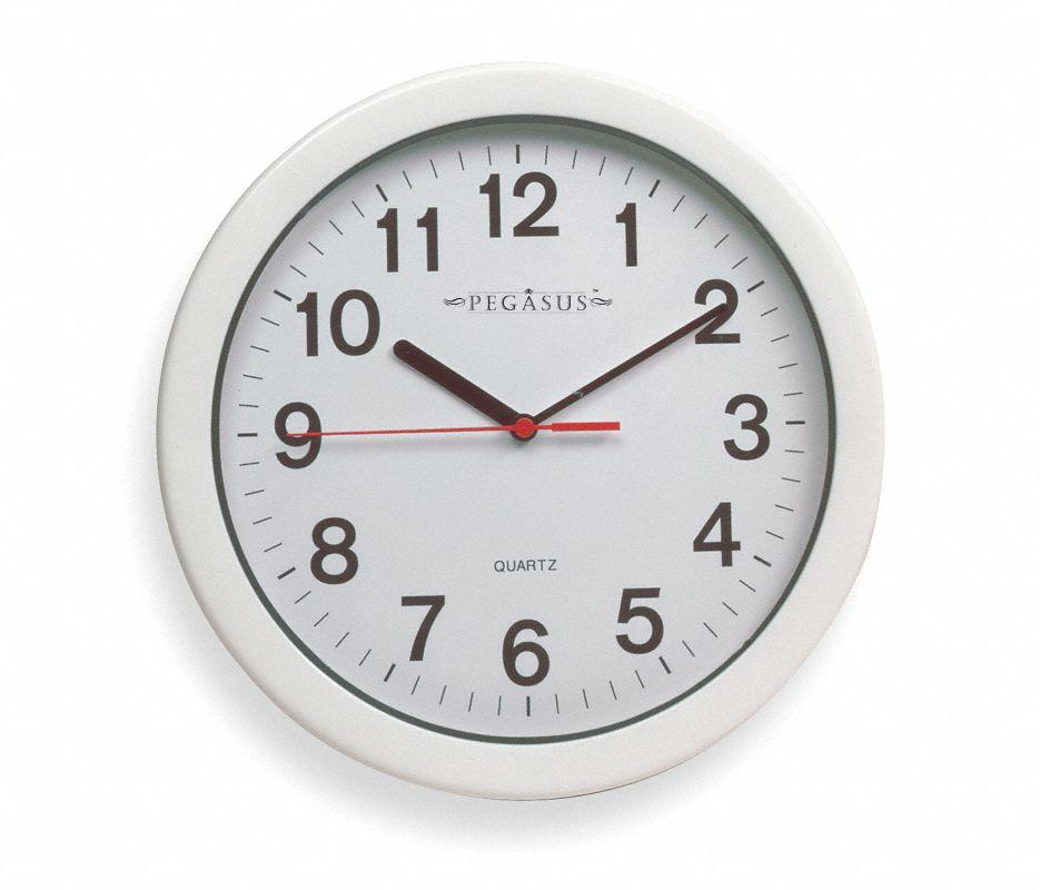Analog Clock,10-1/4 In,White