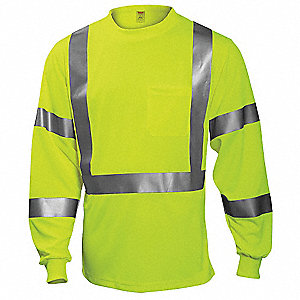 Hi-Vis T-Shirt,Long Sleeve,Lime,5XL