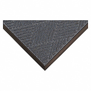 "Indoor Entrance Mat, 3 ft. L, 24"" W, 3/8"" Thick, Rectangle, Blue"
