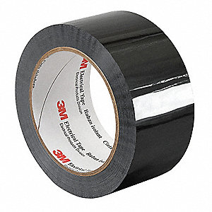 "Black Polyester Electrical Tape, 3/4"" Width, 72 yd. Length, 1 mil Thickness"
