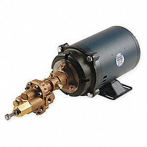 Rotary Gear Pump With Motor, 125 psi, Bronze, 3 HP, 1 Phase
