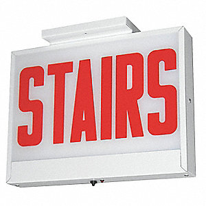 LED Stairs Sign with Battery Back-Up, White Housing Color, 20 ga. Steel Housing Material