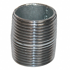 "2-1/2"" x Close Thread Galvanized Steel Nipple, Pipe Schedule 40"