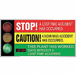 Safety Scoreboard,36 x 72In,AL/PLSTC,ENG