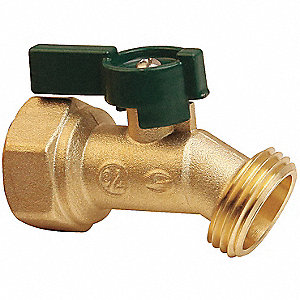 Hose Bibb,Quarter Turn,1/2In, Brass