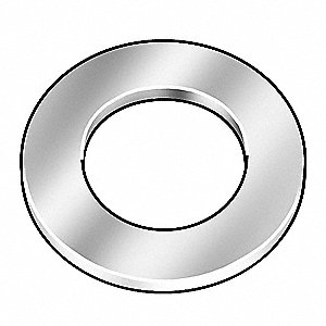 "3/8""x13/16"" O.D., SAE Type A Narrow Flat Washer, Steel, Through Hardened, Zinc Yellow, PK50"